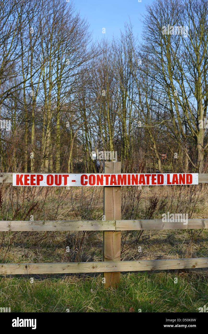 warning sign of contaminated area, united kingdom - Stock Image