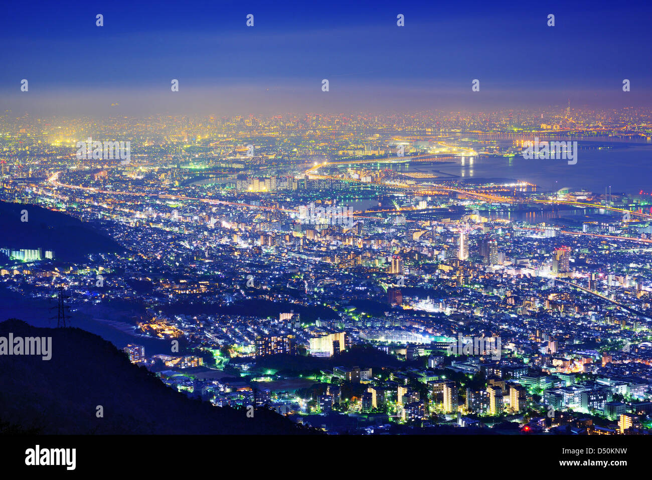 View of several Japanese cities in the Kansai region from Mt. Maya. The view is designated a 'Ten Million Dollar - Stock Image