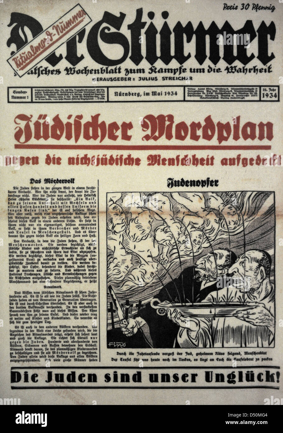 Der Sturmer. Weekly paper edited by the NSDAP Julius Streicher in Nuremberg. Front page. Special issue 1. May, 1934. - Stock Image
