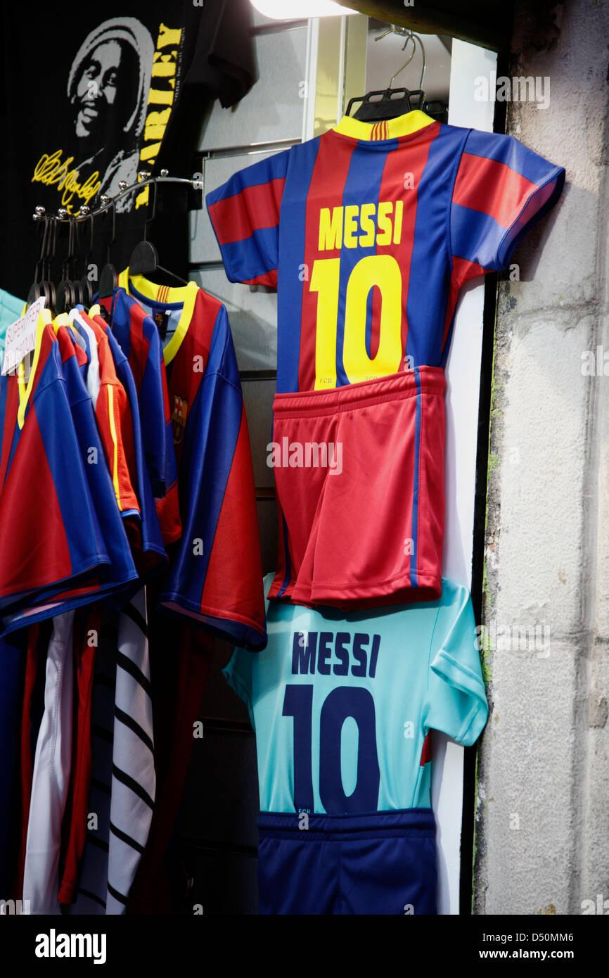 Shop selling football shirts, Barcelona, Spain - Stock Image