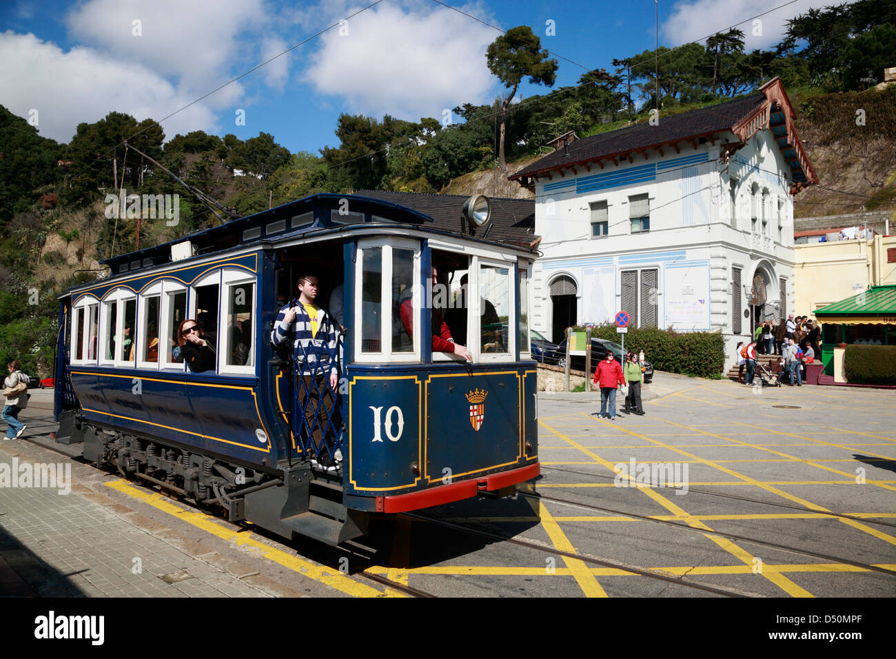 The Historical Tramvia Blau to  mountain TIBIDABO, Barcelona, Spain - Stock Image