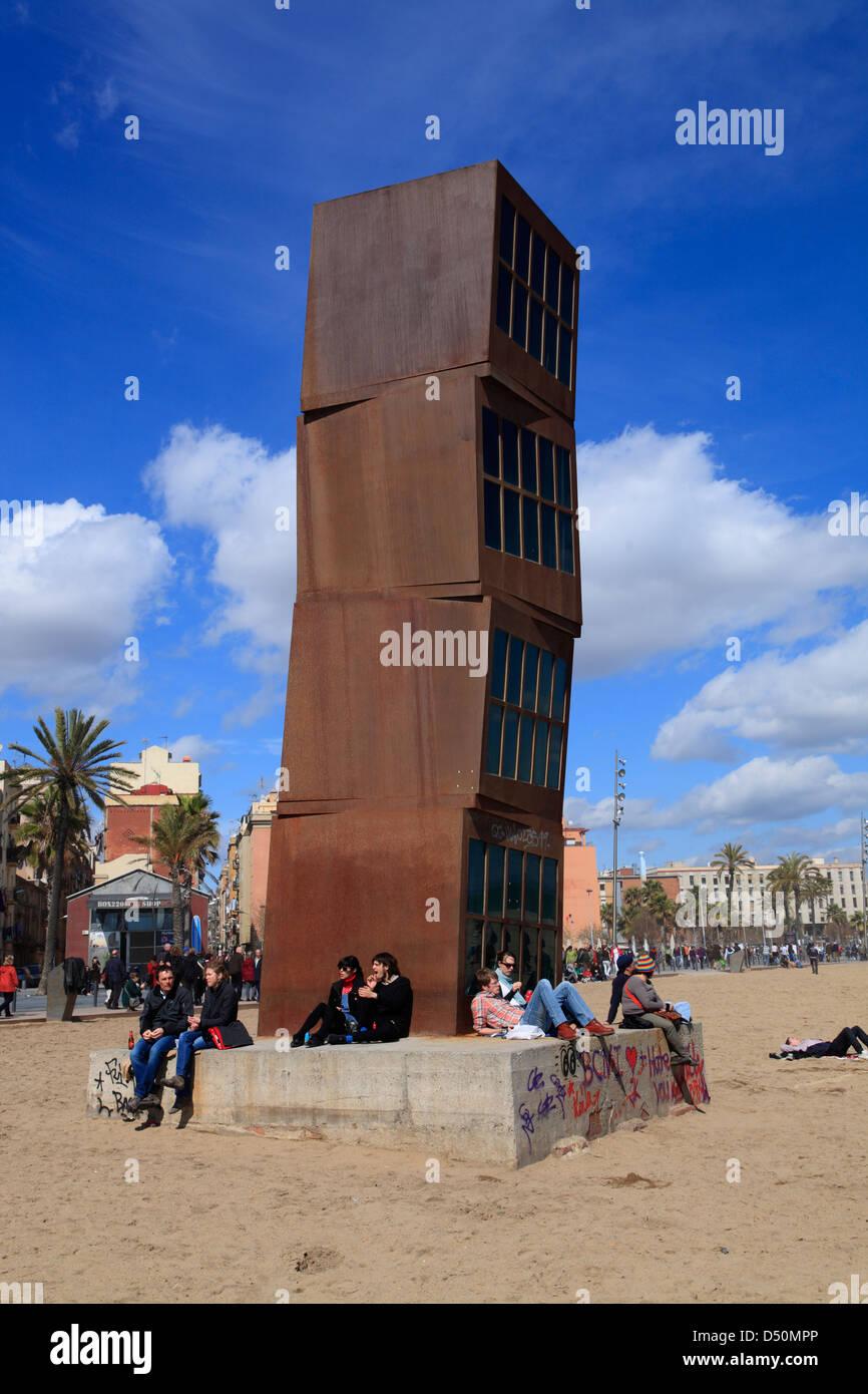 Citybeach La Barceloneta, Modern art sculpture called  HOMAGE to BARCELONA by Rebecca Horn, Barcelona, Spain - Stock Image
