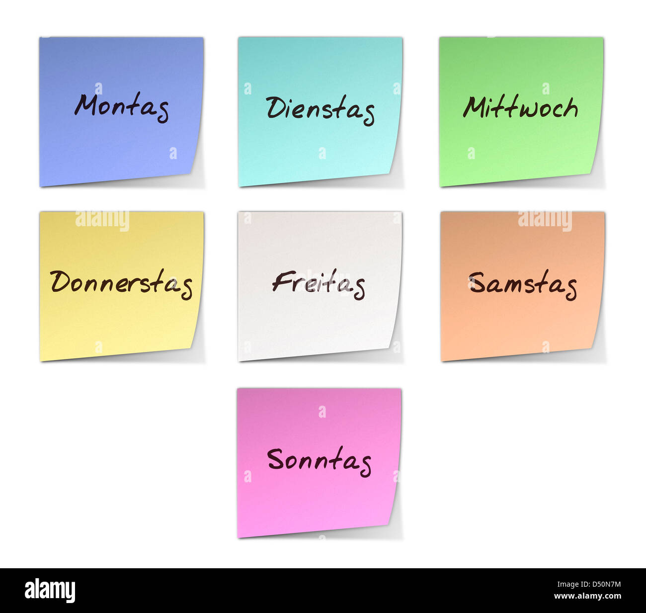 Color Post-it Notes With Handwritten Weekdays in German Stock Photo