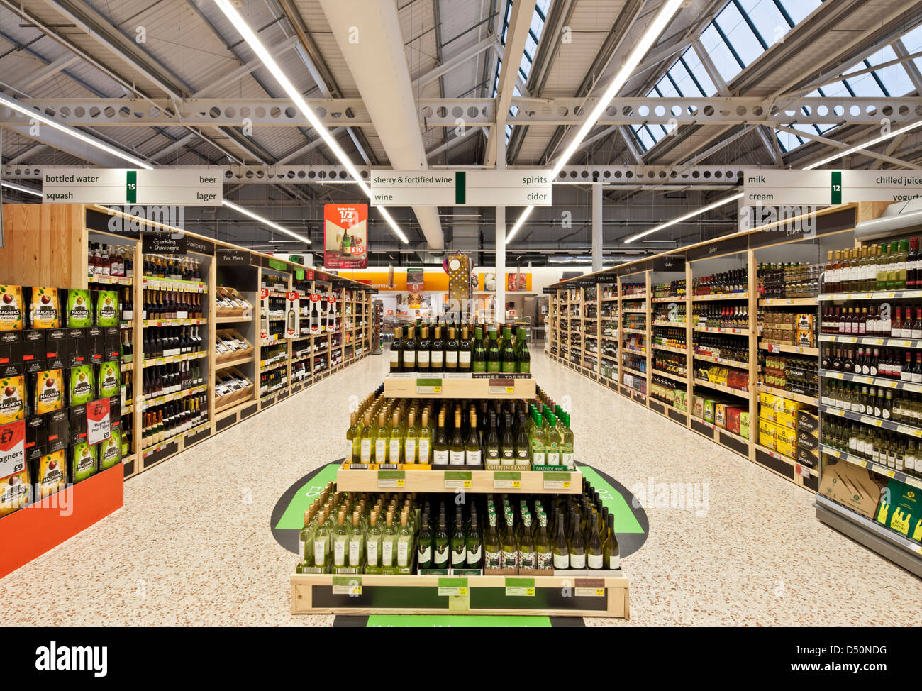Display of wine at a supermarket - Stock Image