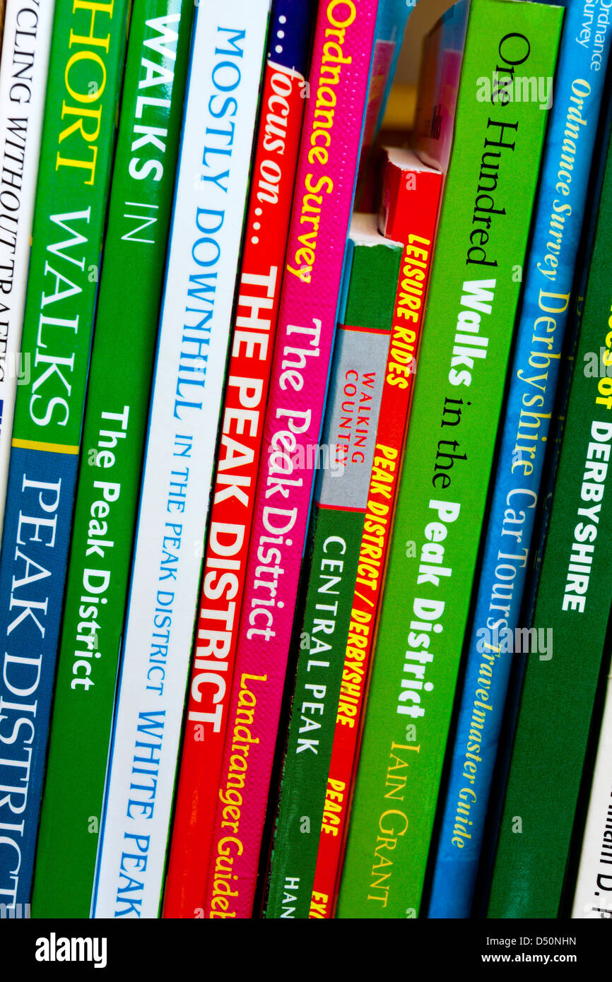 Close up view of guide books covering the Peak District in Derbyshire England UK - Stock Image
