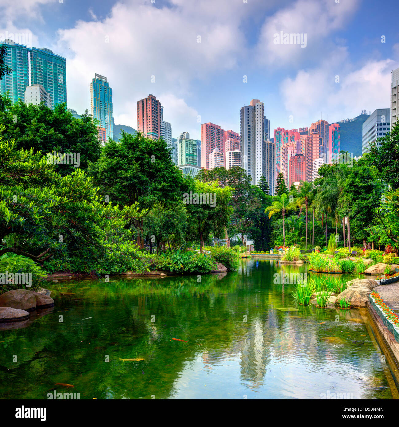 Pond and landscape of Hong Kong Park - Stock Image