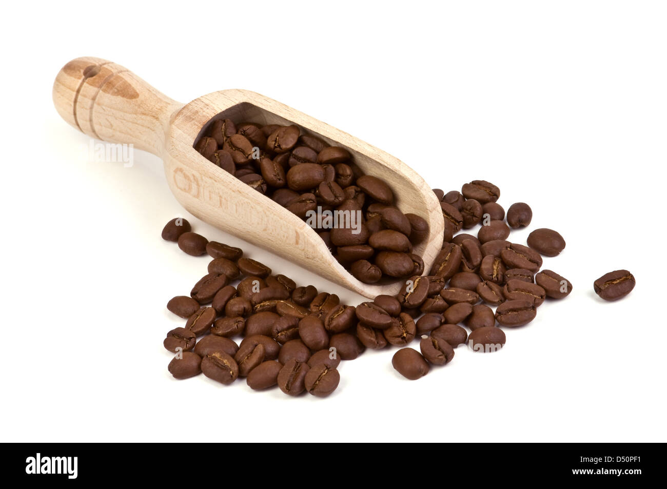 roasted coffee bean isolated on white - Stock Image