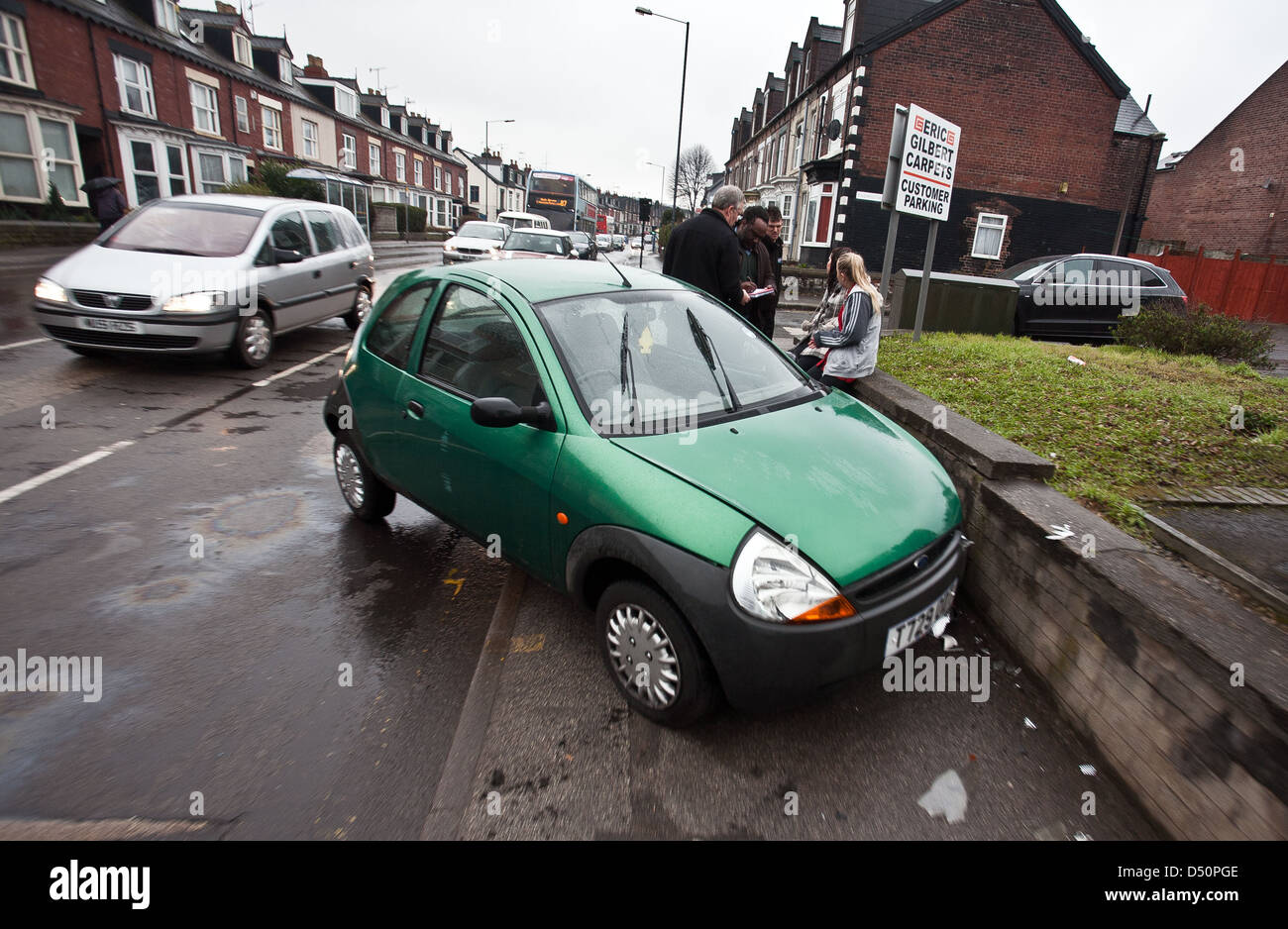 A car crash on Abbeydale road in Sheffield England UK Europe - Stock Image
