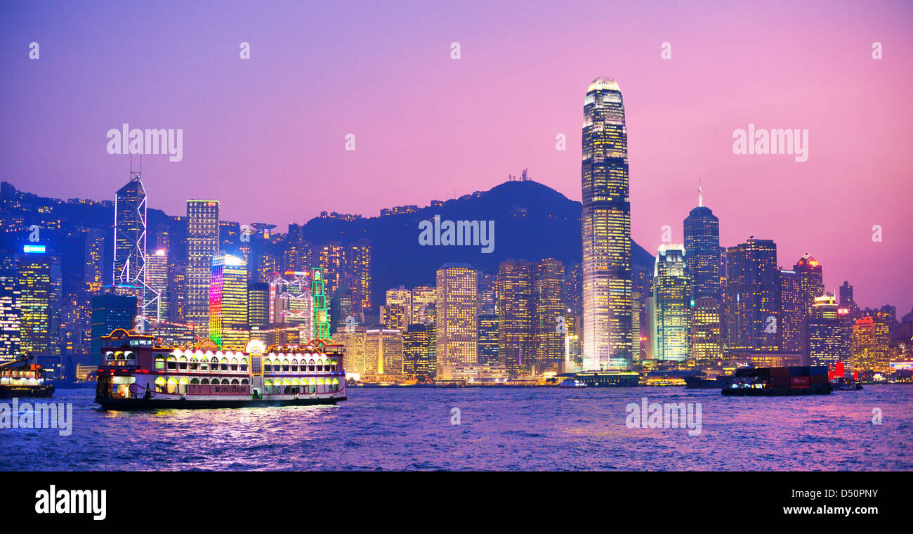 Hong Island Skyline from across Victoria Harbor October 15, 2012 in Hong Kong, PRC. - Stock Image