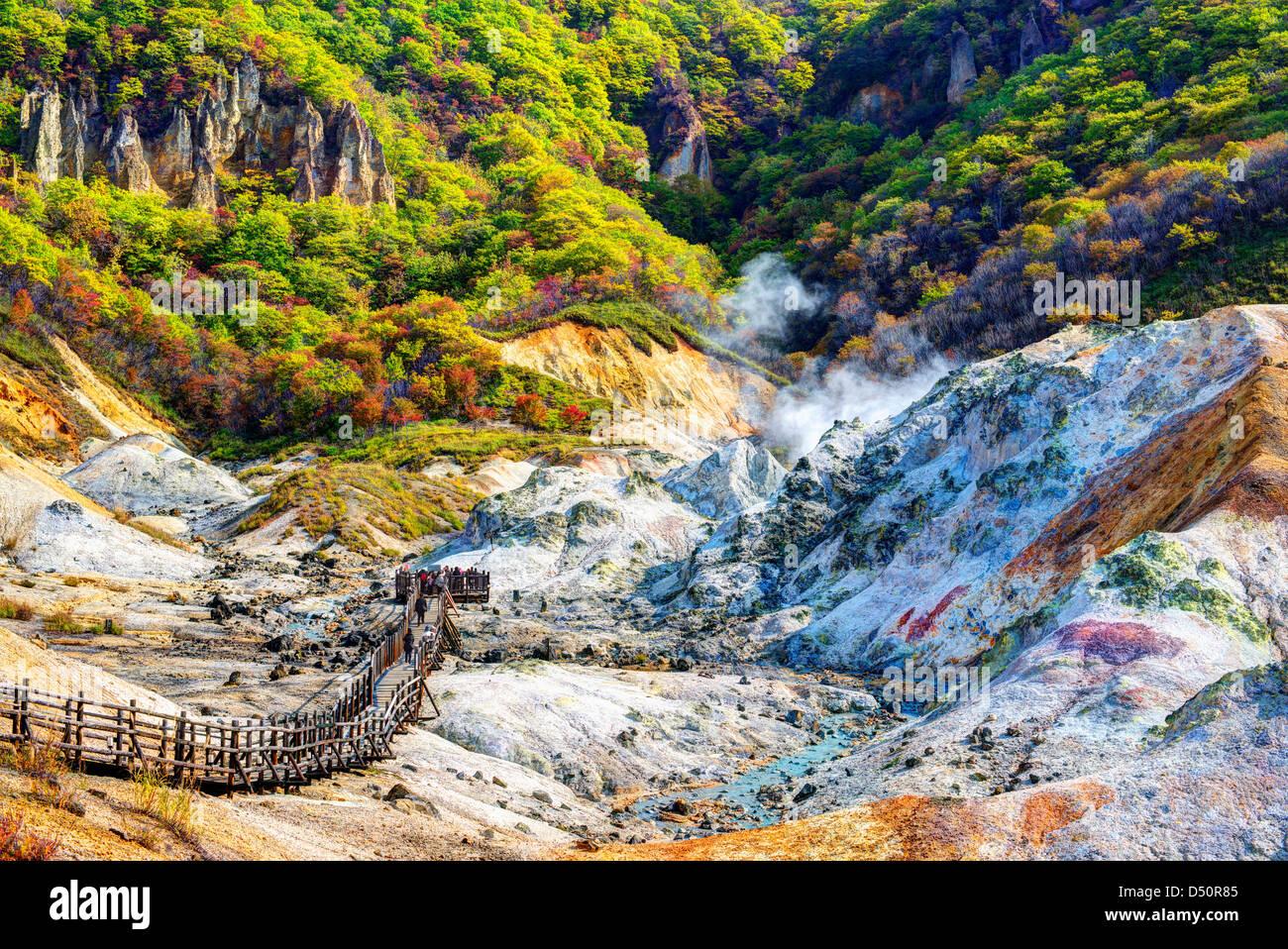 Hell Valley in Noboribetsu, Hokkaido, JP. - Stock Image