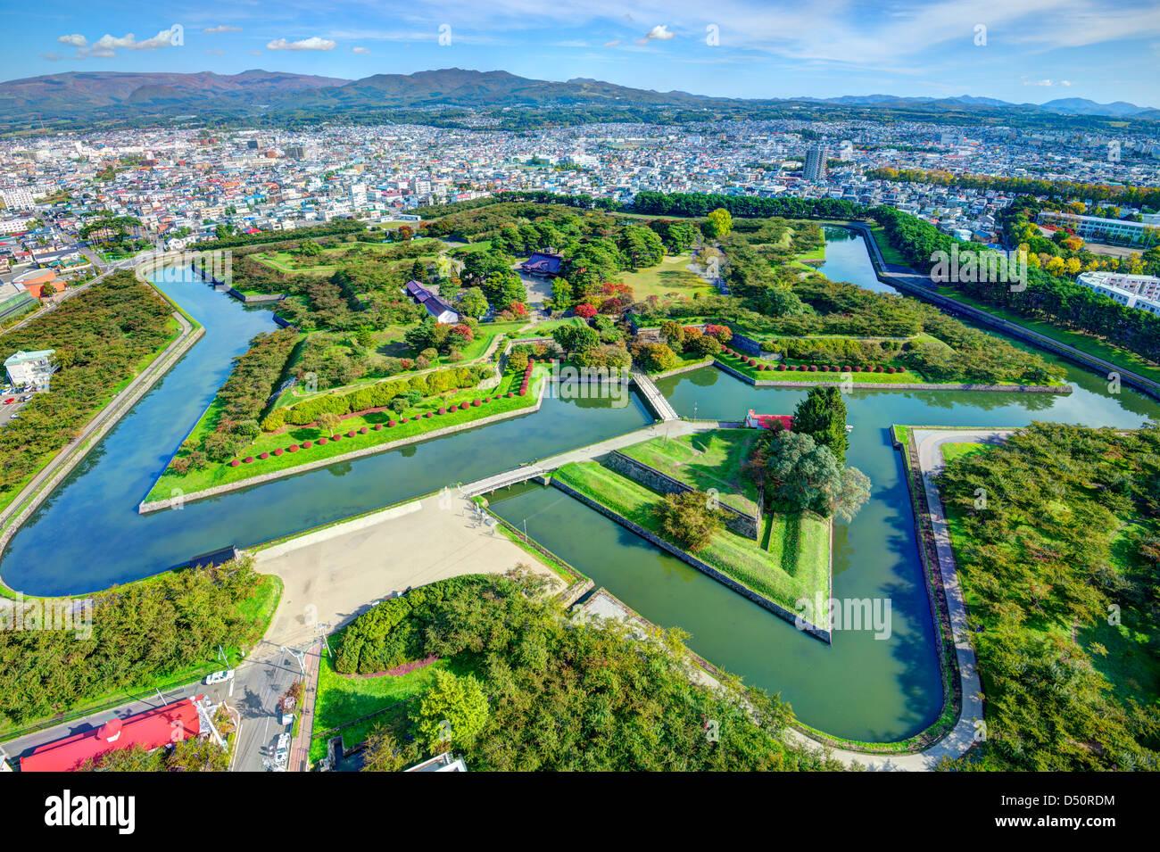 Goryokaku Park in Hakodate, Hokkaido, Japan was originally a star fort designed in 1855. - Stock Image