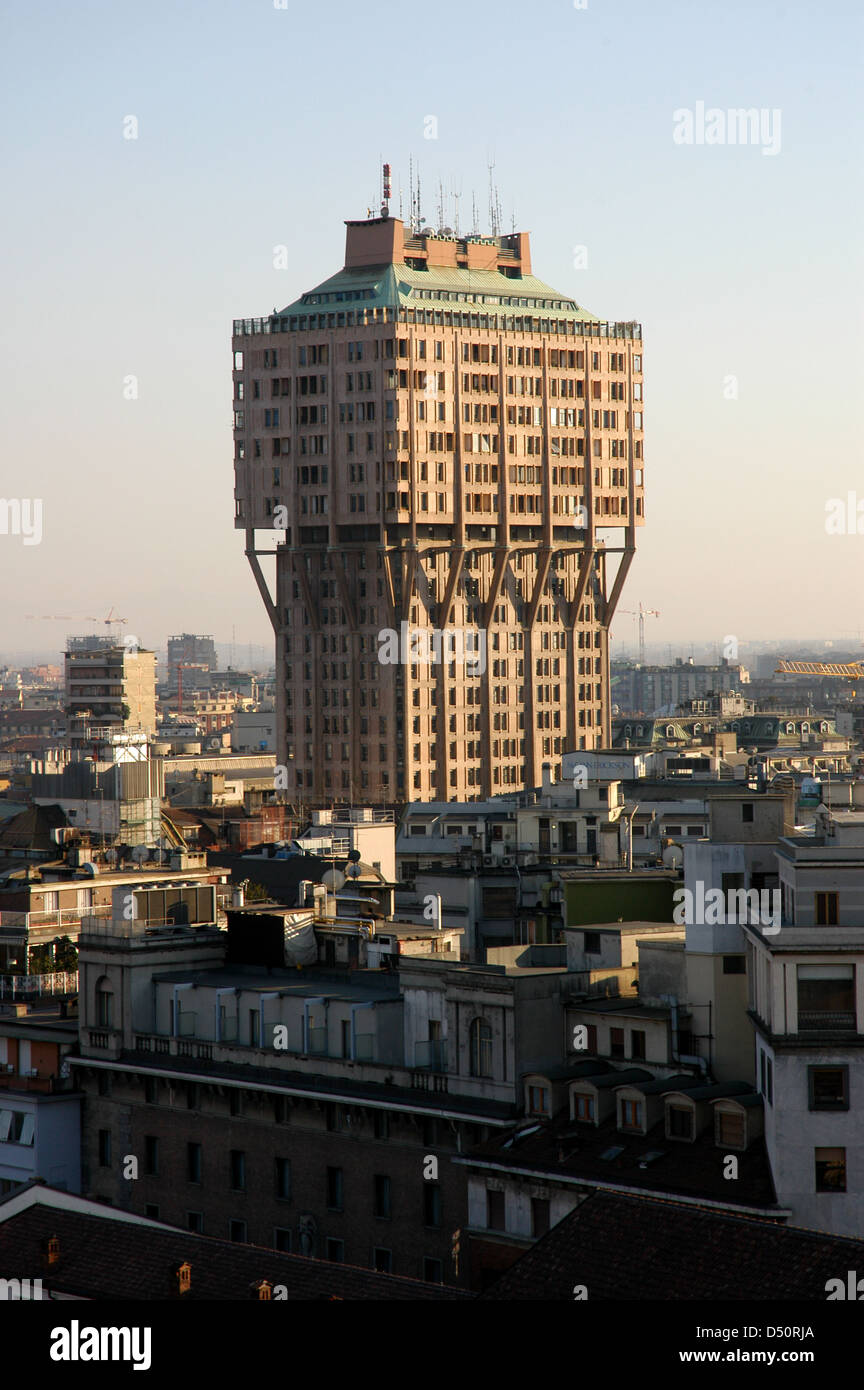 Italy. Milan. The Velasca Tower. Skyscraper built in 1950 by the BBPR architectural partnership. - Stock Image