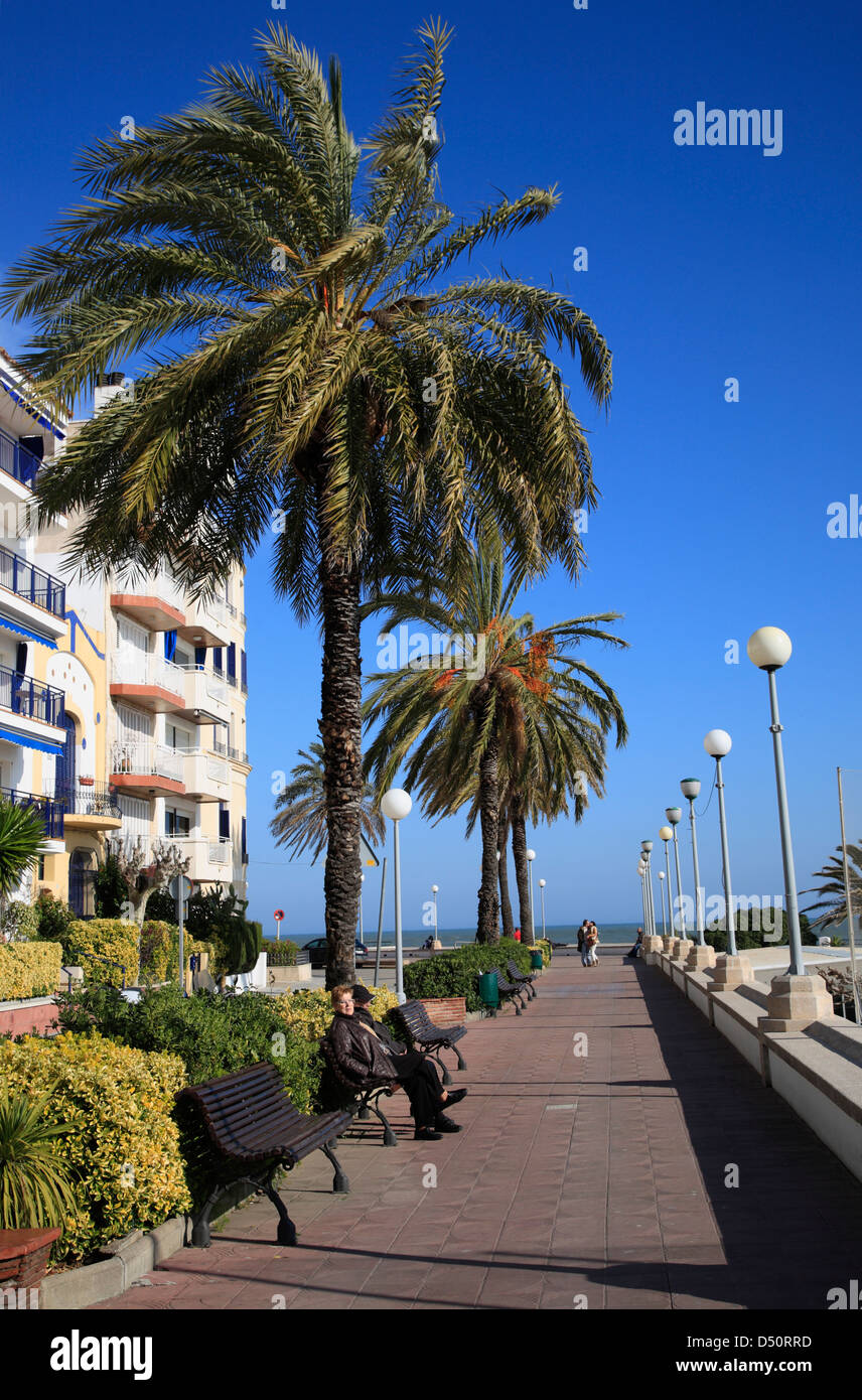 Costa Brava, St. Pol, Promenade, Catalonia,Spain - Stock Image