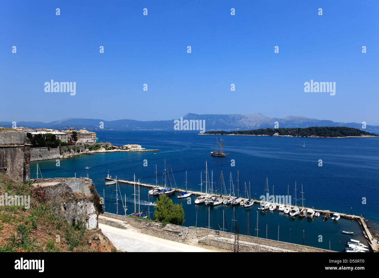 Sailing Boats in the Naval Sports Club marina, (Mandraki), Corfu Town, Corfu Island, Greece, Europe - Stock Image