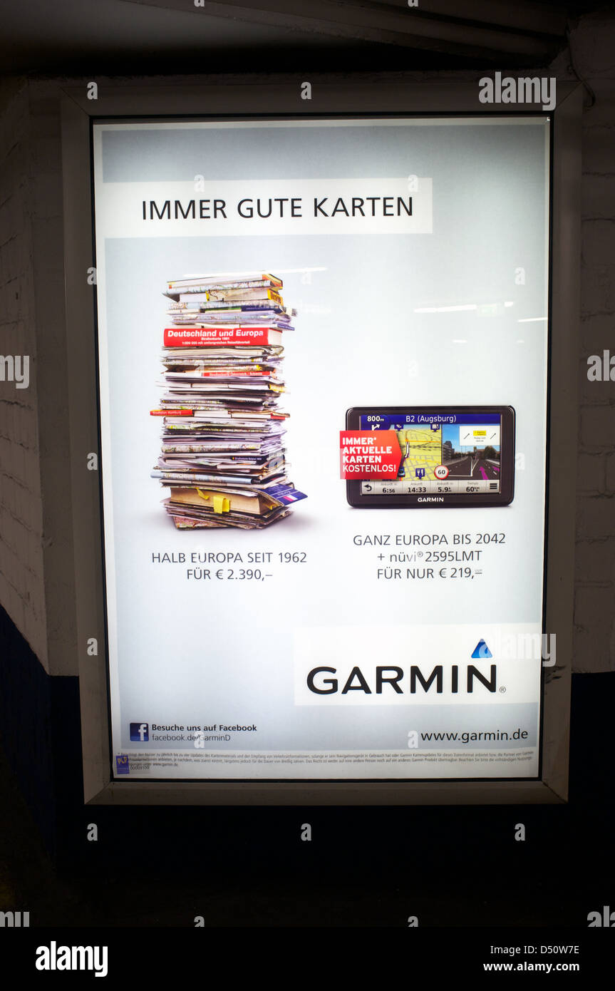 A advert in German for a Garmin Sat-Nav showing how many