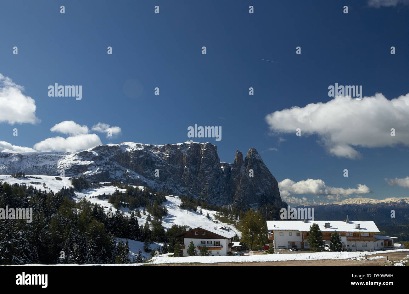 Compatsch, Italy, wintry mountains on the Seiser Alm Stock Photo