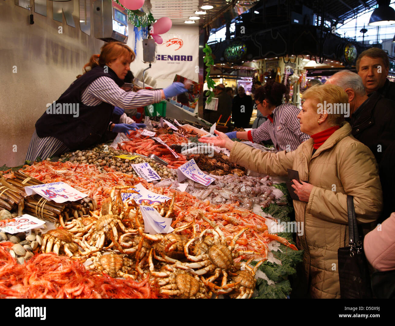 Market hall  MERCAT de la BOQUERIA, Stall with fish, Barcelona, Spain - Stock Image