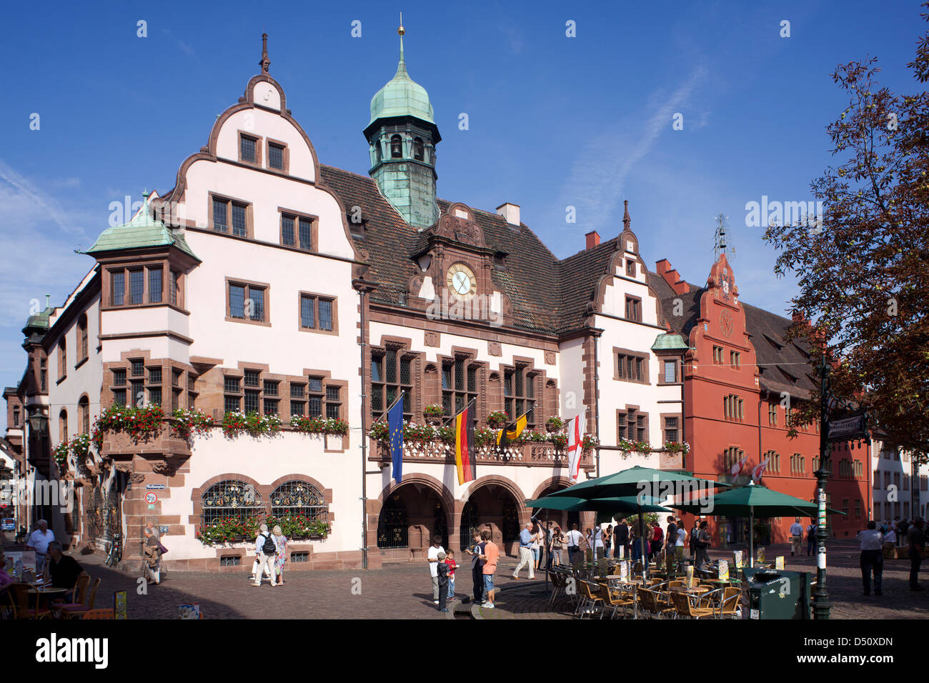 freiburg germany the old town hall and the new town hall on the stock photo 54725153 alamy. Black Bedroom Furniture Sets. Home Design Ideas