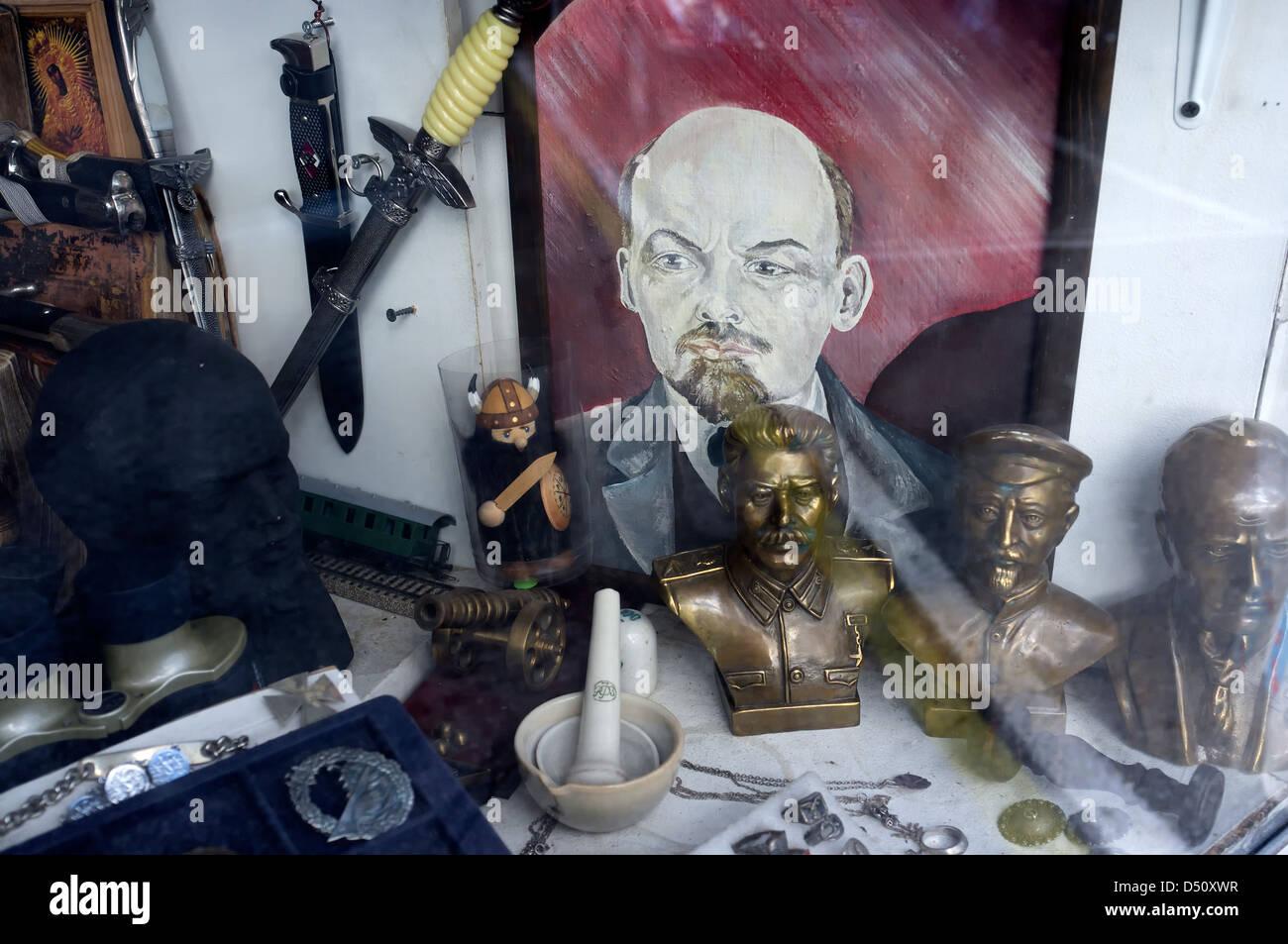 Tallinn, Estonia, flea market booth at the Russian market with communist memorabilia - Stock Image