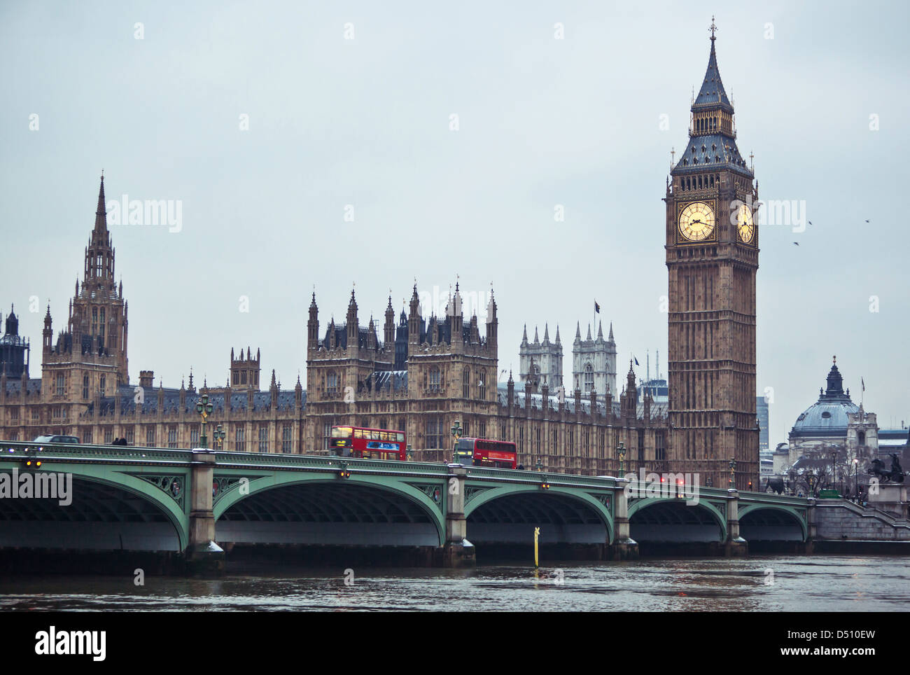 The Houses of Parliament, Elizabeth Tower and Westminster Bridge, seen from South Bank, London, England, UK. - Stock Image
