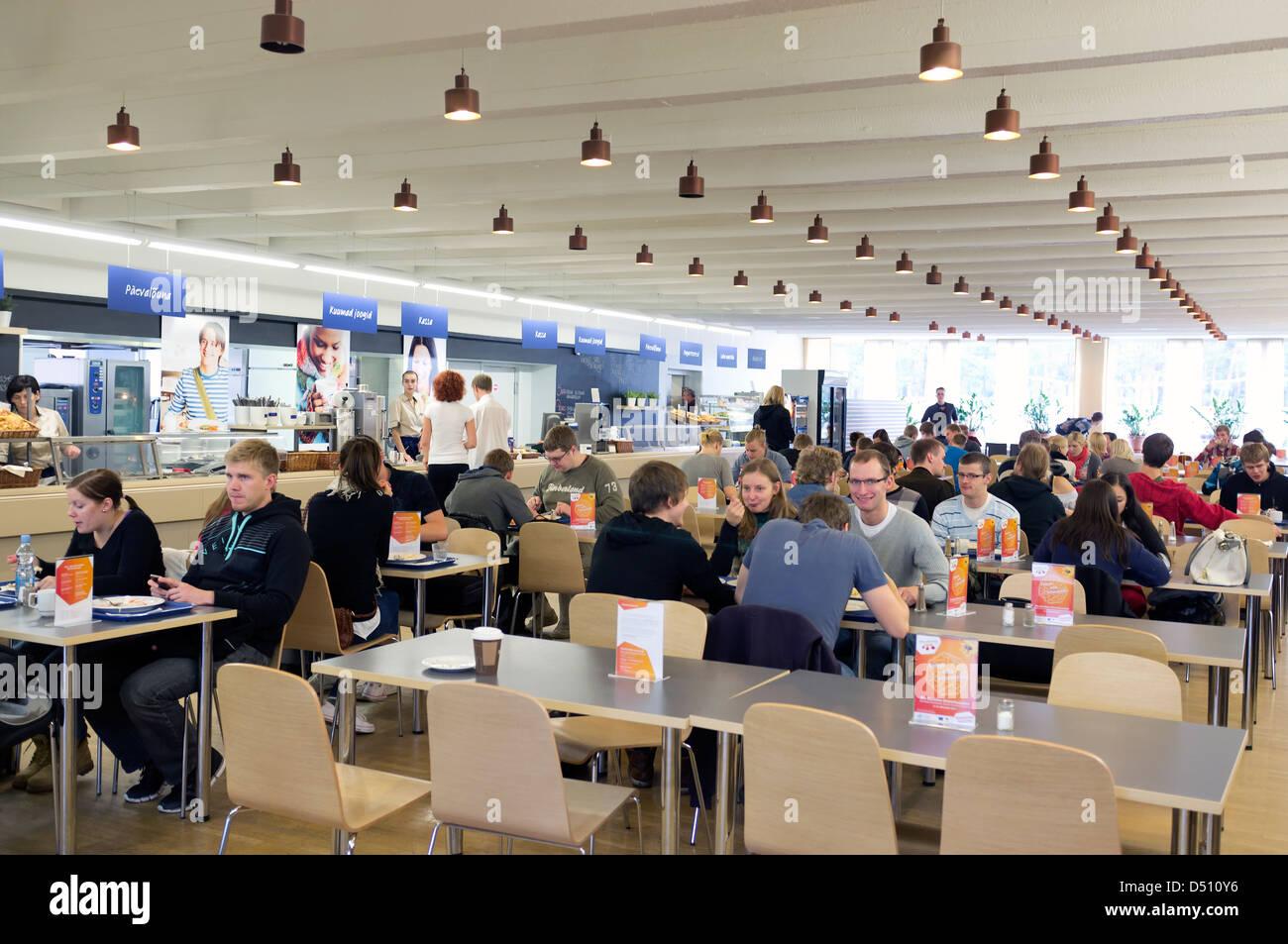 Tallinn, Estonia, students in the cafeteria of the Technical University of Tallinn - Stock Image