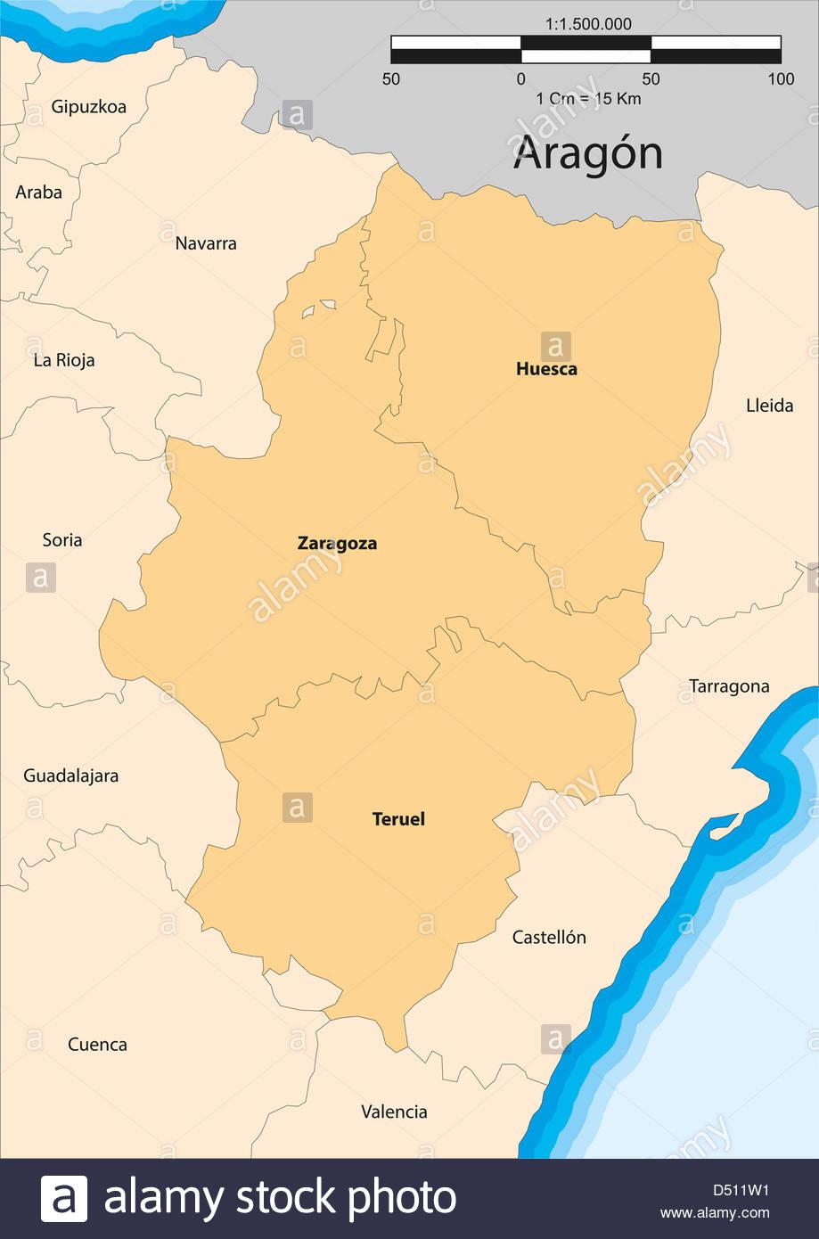 Vector Map Of The Autonomous Community Of Aragon Spain Stock Photo