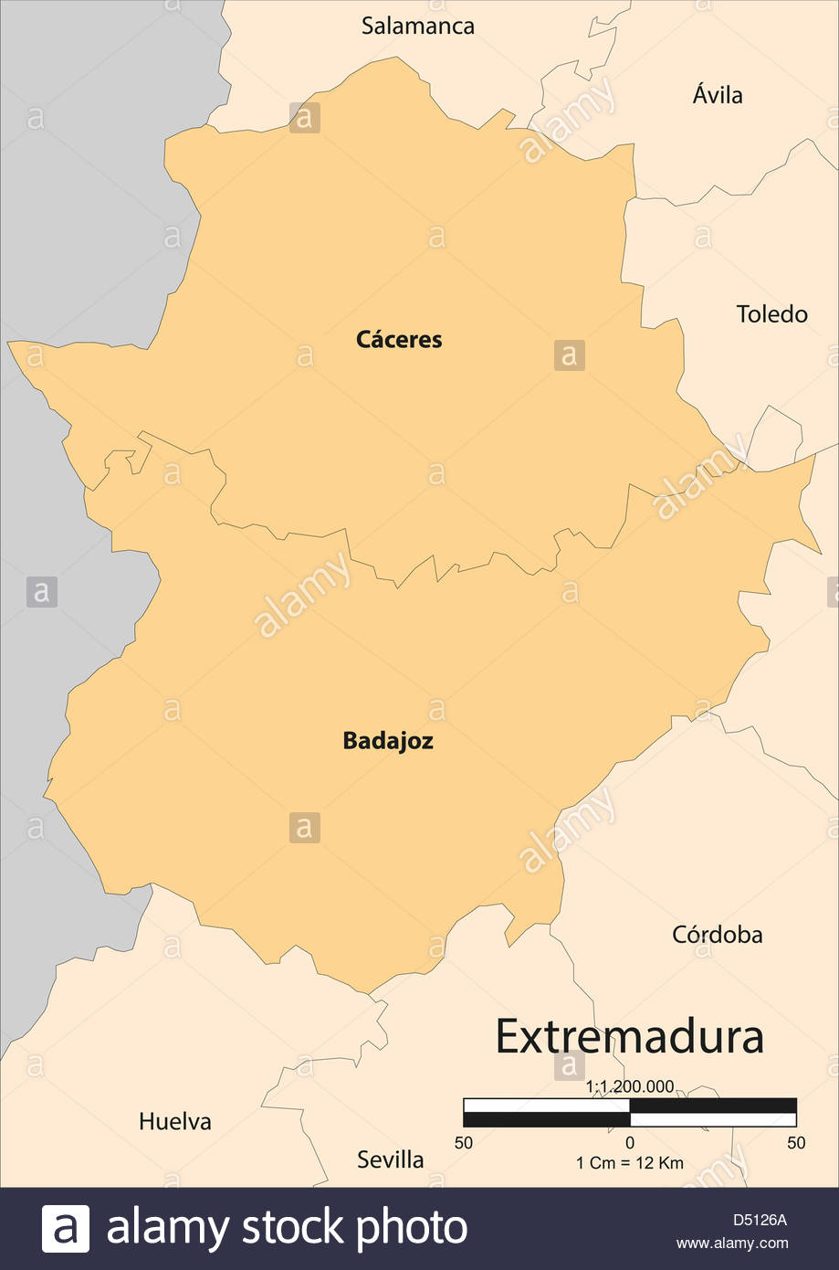 Map Of Spain Extremadura.Vector Map Of The Autonomous Community Of Extremadura Spain Stock