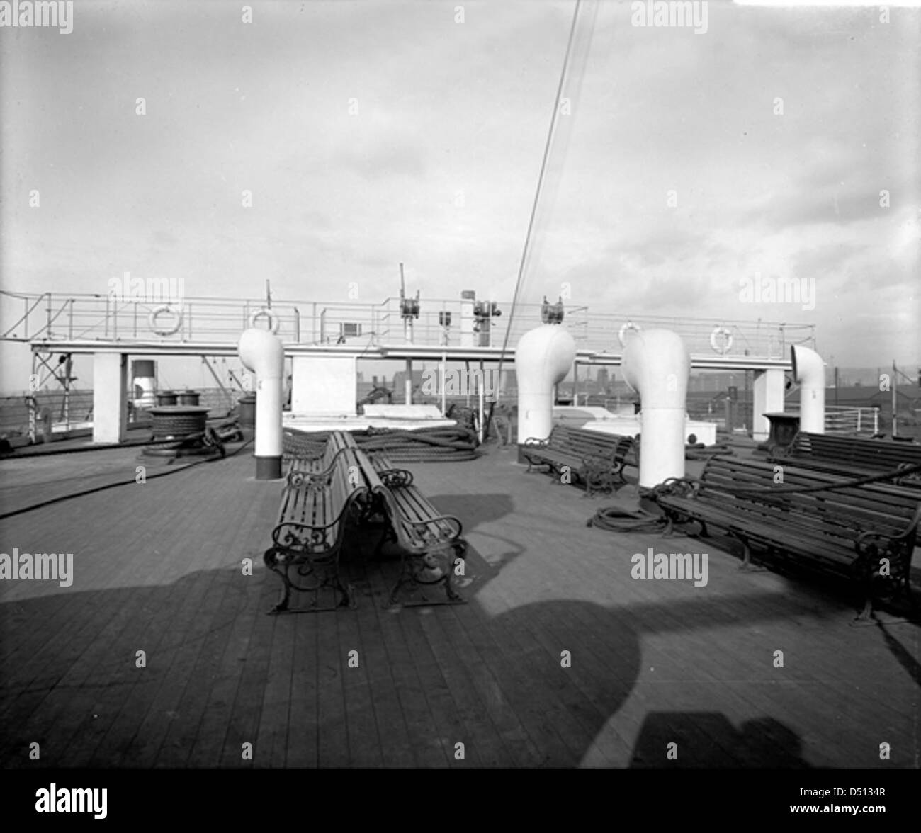Third class promenade on the 'Olympic' - Stock Image