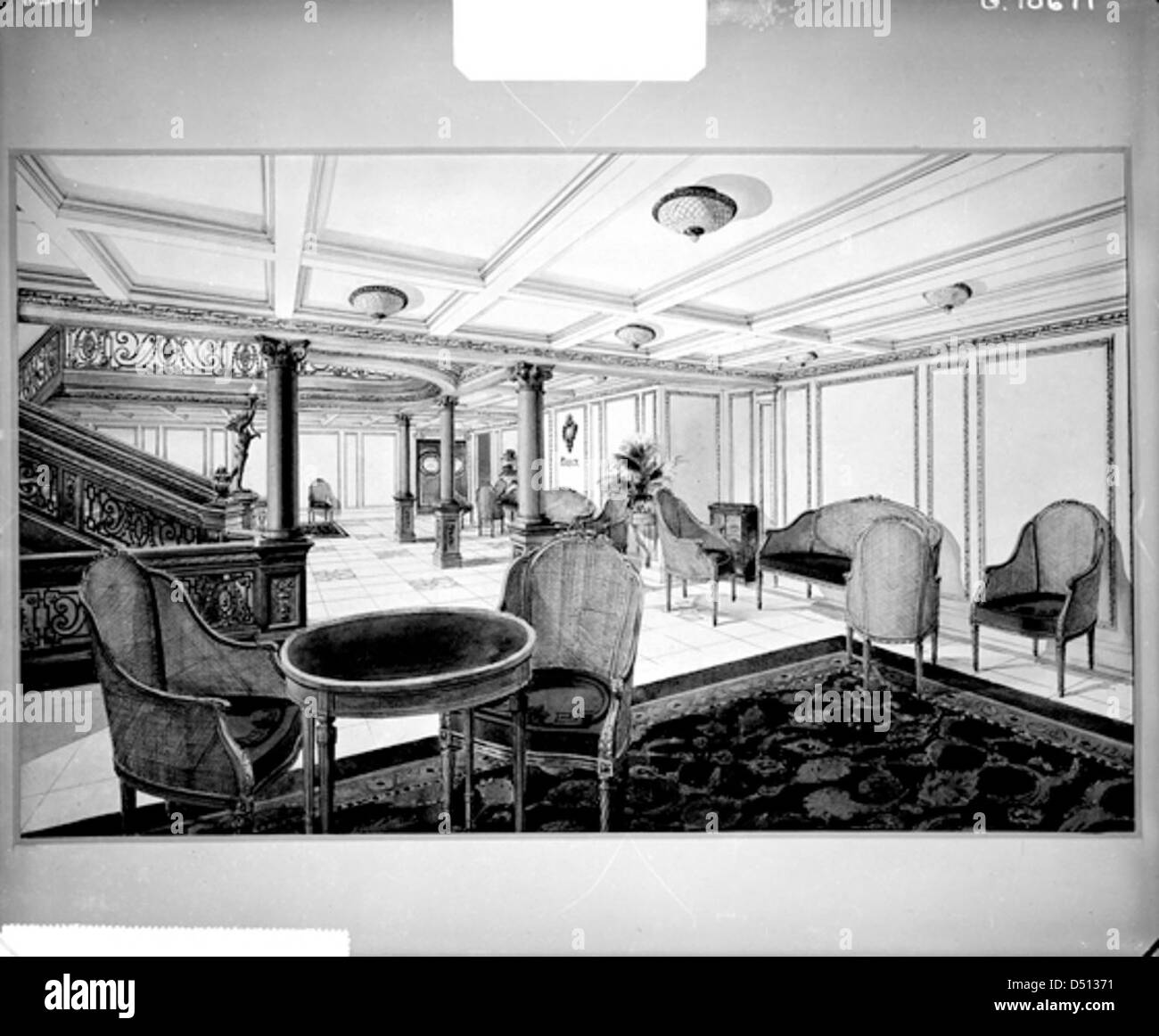 First class restaurant reception room on the 'Titanic' - Stock Image