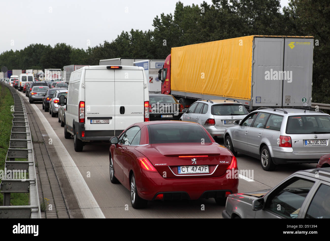 Magdeburg, Germany, jam on the A2 towards Berlin Stock Photo