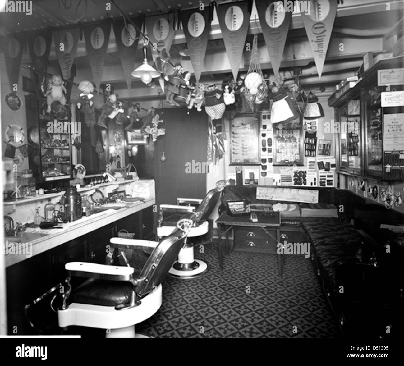 Second class barber's shop on the 'Olympic' - Stock Image