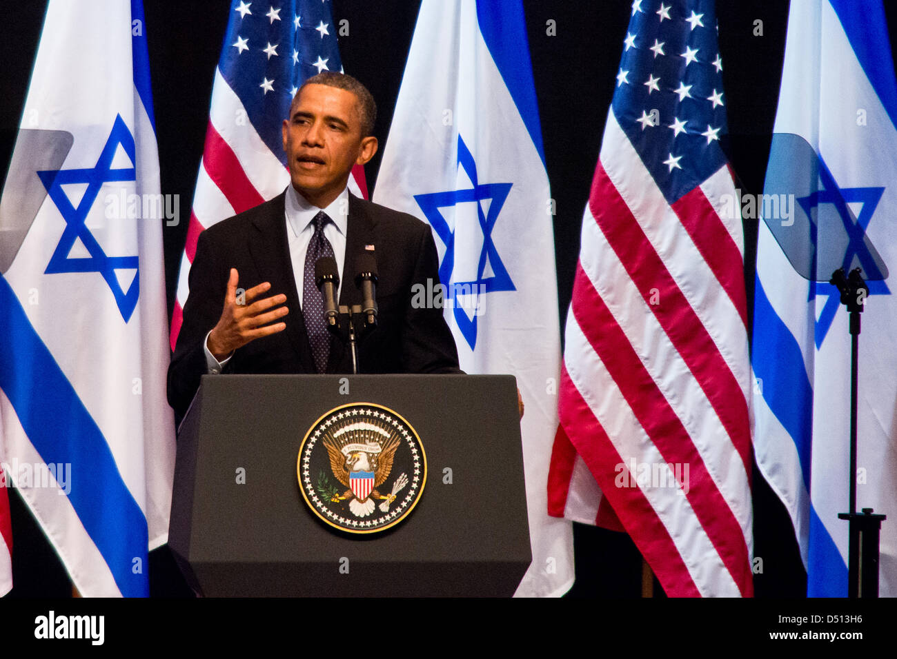 US President Barack Obama focuses his public speech on the younger generation and says; ' I can promise you - Stock Image