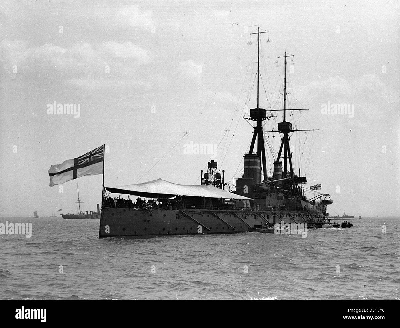 Starboard quarter view of HMS 'Temaraire' anchored at Southend - Stock Image