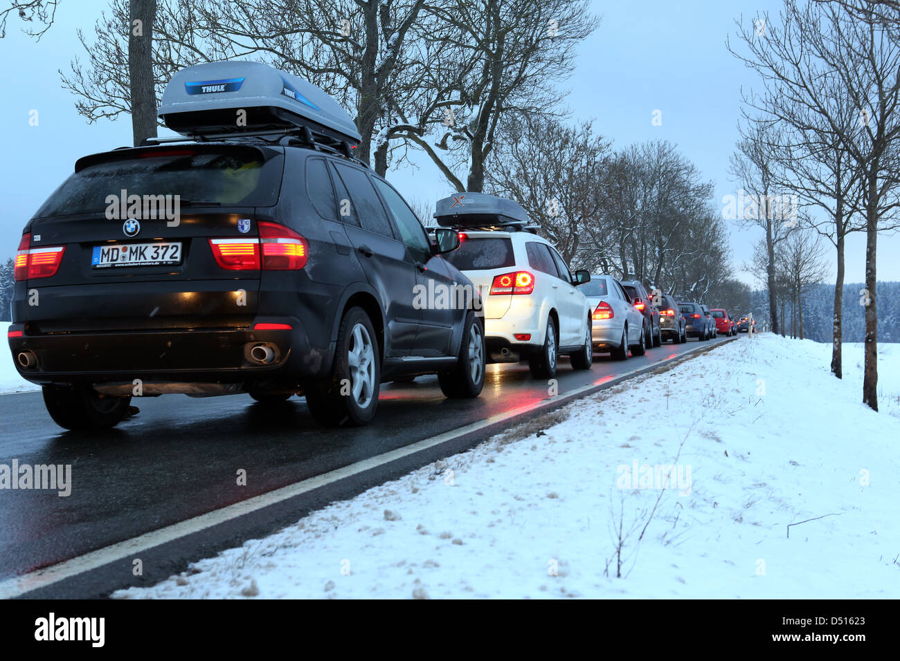 Schleiz, Germany, a traffic jam on a highway at dusk in winter Stock Photo