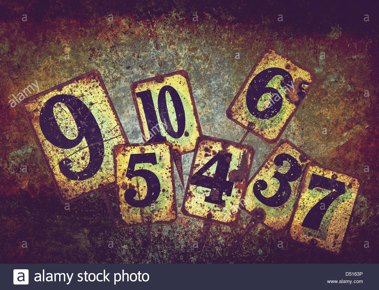 rusty metal numbers - Stock Image