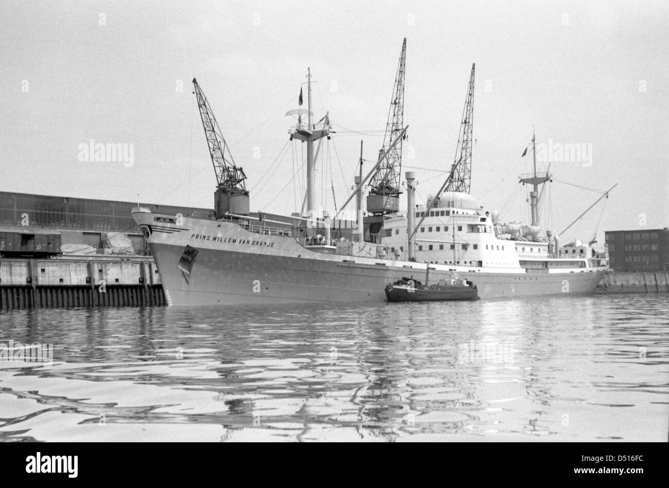Hamburg, Germany, cargo and passenger ship Prins Willem van Oranje at a quay in the harbor Stock Photo