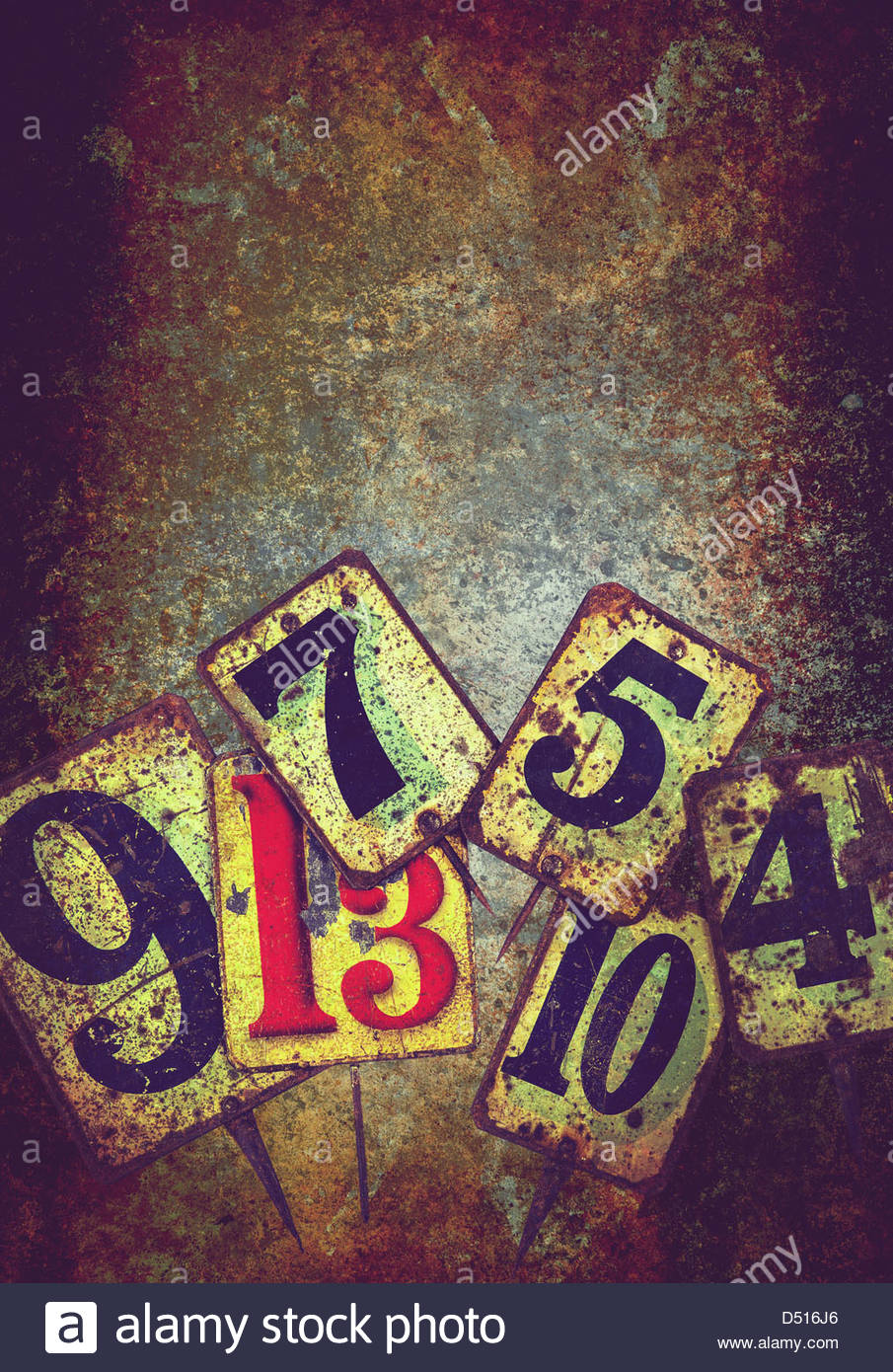 grunge metal numbers - Stock Image