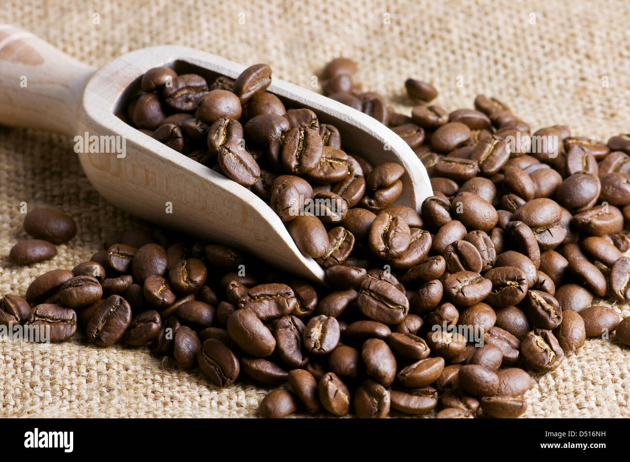 roasted coffee bean close up - Stock Image