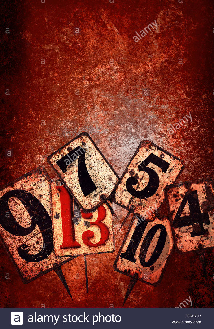 grunge numbers red - Stock Image