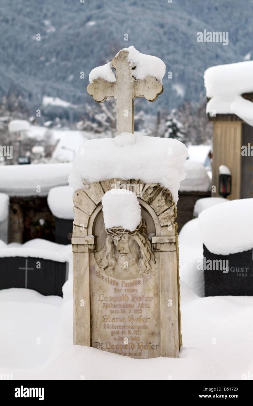 Afritz am See, Austria, sent schneiter grave stone in the cemetery in Afritz - Stock Image