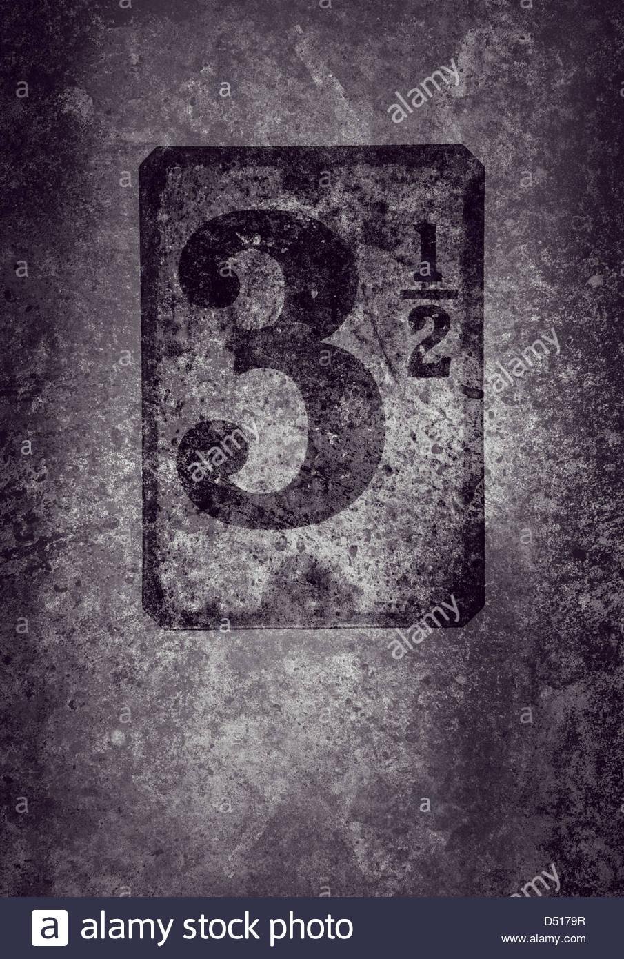 grunge three and a half - Stock Image