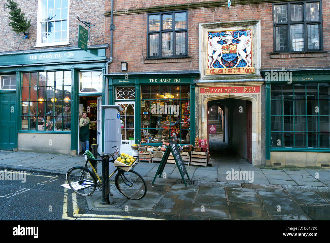 The entrance to the Merchant Adventurer's Hall on Fossgate in York, Yorkshire, England - Stock Image