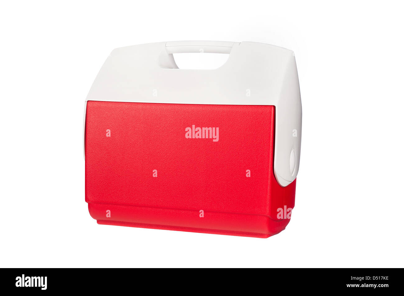 A red ice chest cooler isolated on a white background - Stock Image