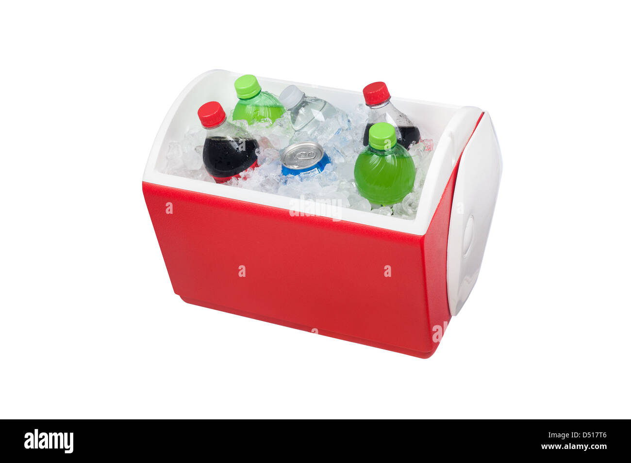 An isolated ice chest cooler filled with ice and soft drinks such as water and soda. - Stock Image