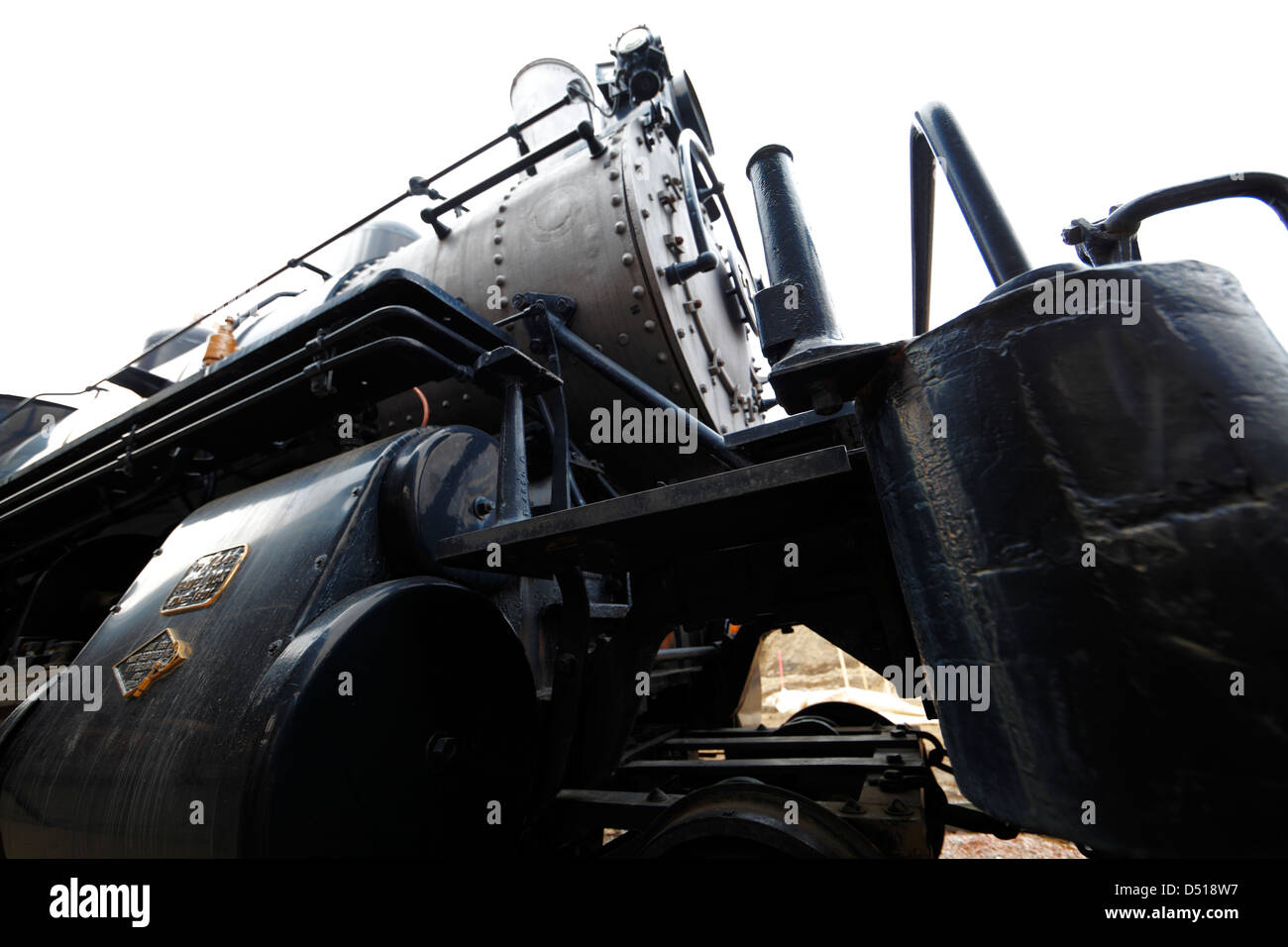 Steam locomotive engine. - Stock Image