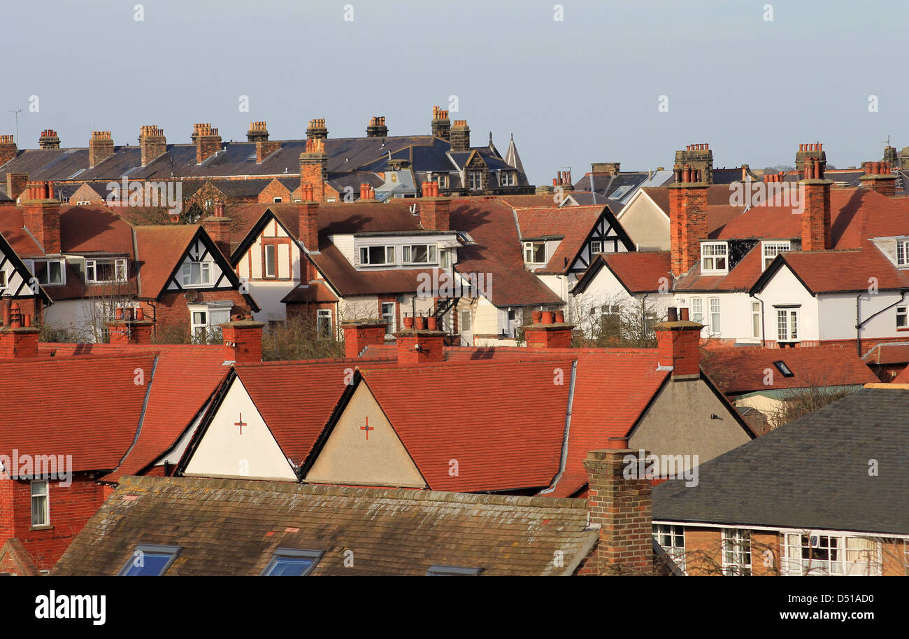 Red roof tops on modern housing estate, Scarborough, England. - Stock Image