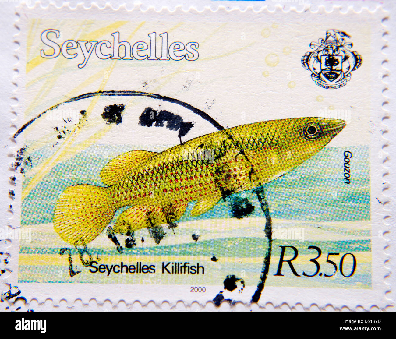 Seychelles Postage stamp with Seychelles Killifish - Stock Image