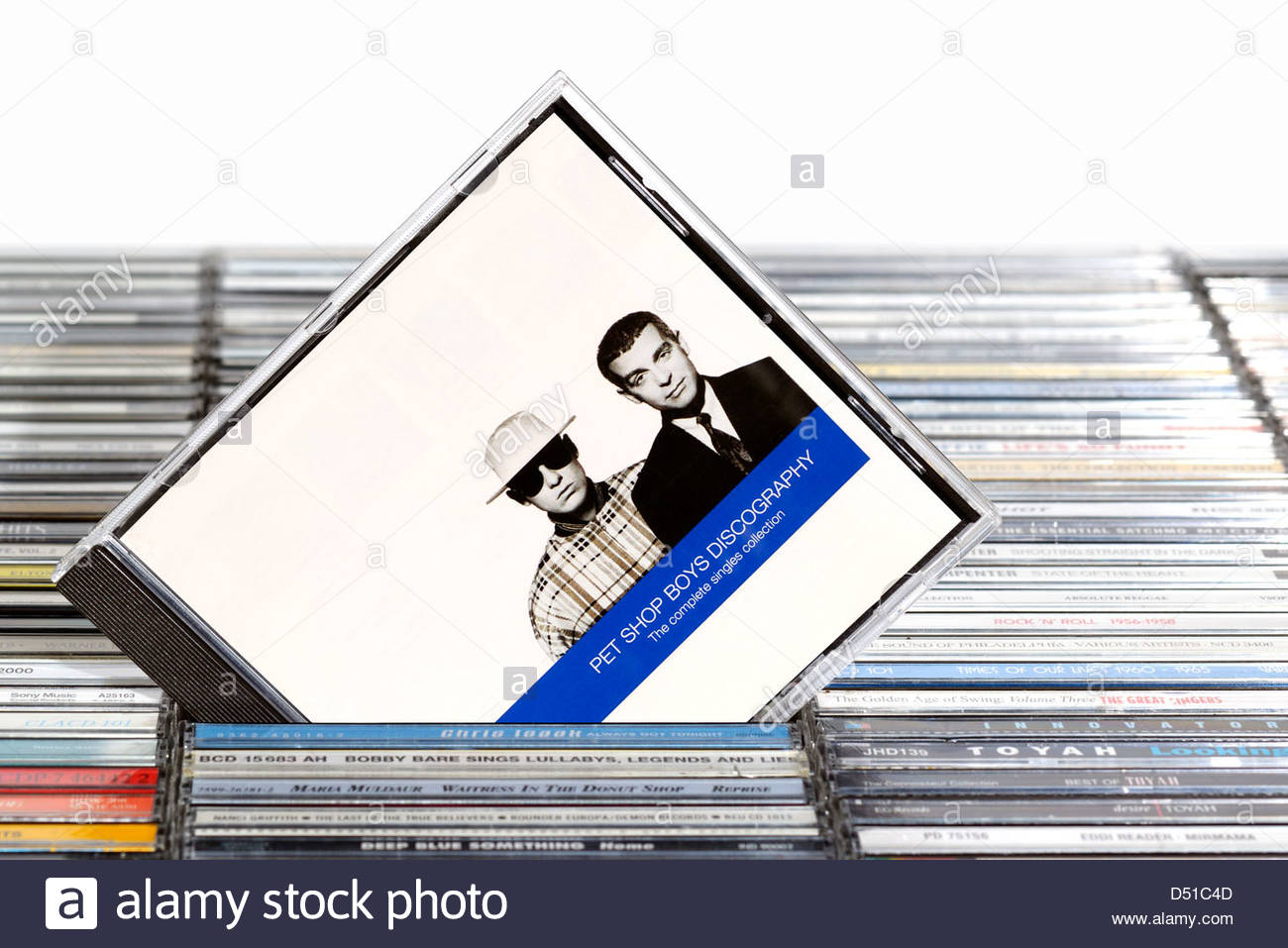 Pet Shop Boys album Discography, piled music CD cases, England. - Stock Image
