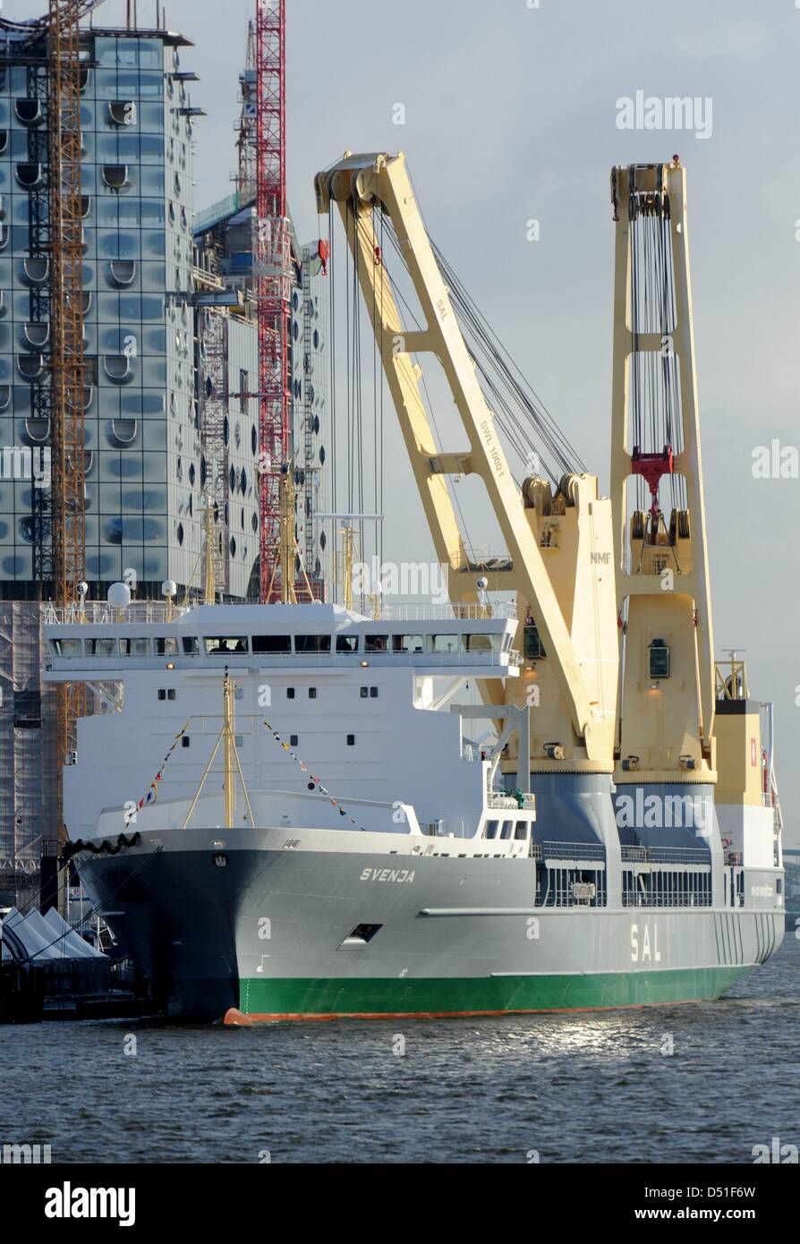 The new heavy lift ship MV 'Svenja' of the shipping company SAL (Schiffahrtskontor Altes Land) lies at the - Stock Image