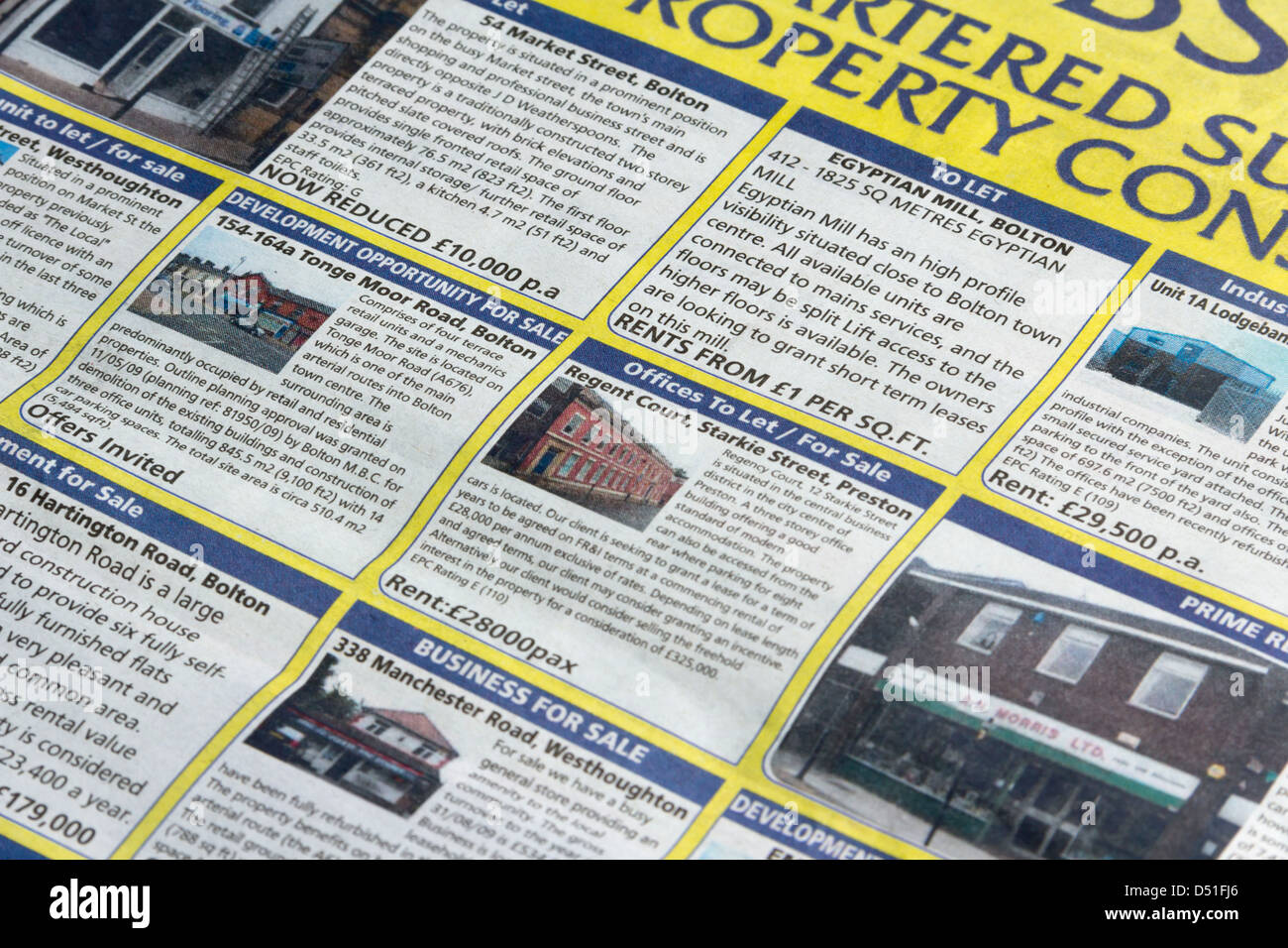 Commercial and business property adverts in the Bolton News, a local daily newspaper, published six days per week. - Stock Image